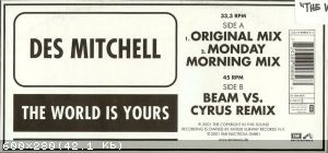 "Des Mitchell ‎– The World Is Yours (Vinyl, 12"")[2001]"
